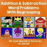 Math Enrichment Word Problems Addition & Subtraction Regrouping Color By Number