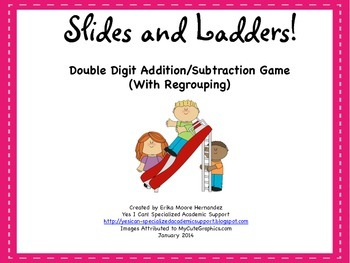 Addition and Subtraction (With Regrouping) Slides and Ladders Game!