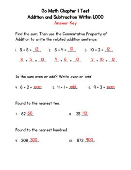 Addition and Subtraction Within 1,000 Test - Go Math 3rd Grade Chapter 1