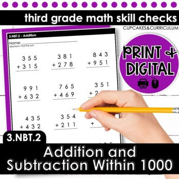 Addition and Subtraction Within 1000 - Third Grade Print and Go