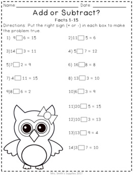 Addition and Subtraction Within 20 Common Core Aligned Activity Packet #1