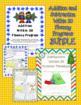 2nd Grade Addition and Subtraction Within 20 Math Fluency Programs BUNDLE 2.OA.2