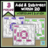 Addition and Subtraction Within 20 Worksheet Bundle