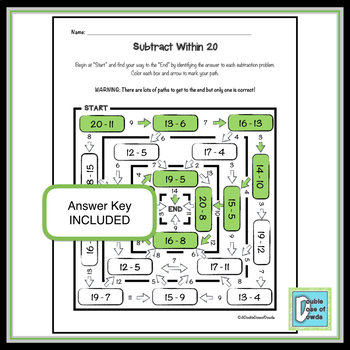 Addition and Subtraction Within 20 Worksheet Bundle by A ...