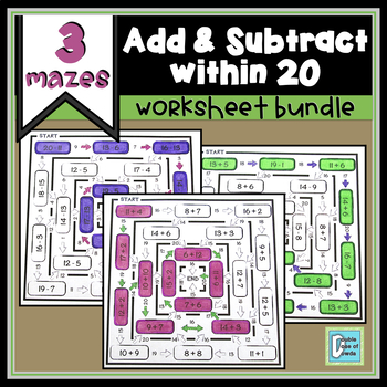 Addition and Subtraction Within 20 Mazes Bundle