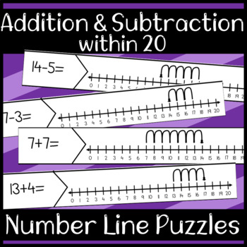 Addition and Subtraction Within 20 Number Line Puzzles