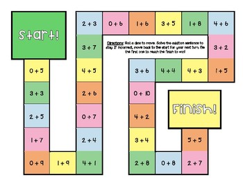 Addition and Subtraction Within 5 & 10 Board Games with Answer Key