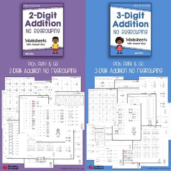 Mixed Addition and Subtraction Worksheets With No Regrouping Bundle