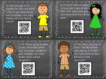 Addition and Subtraction Word Probelms with QR code checks