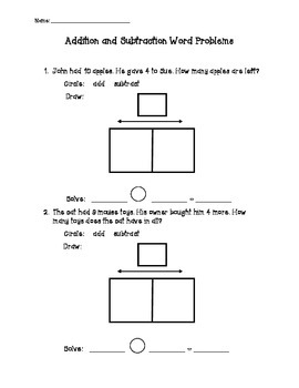 Addition and Subtraction Word Problem Activities