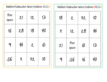 Addition and Subtraction Word Problem Bingo