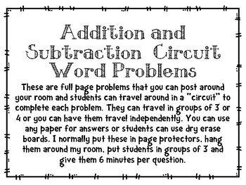 Addition and Subtraction Word Problem Circuit