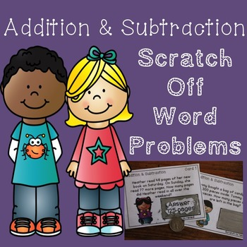 Addition and Subtraction Word Problem Game {Scratch Off Cards}