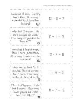 Addition and Subtraction Word Problem Memory Match