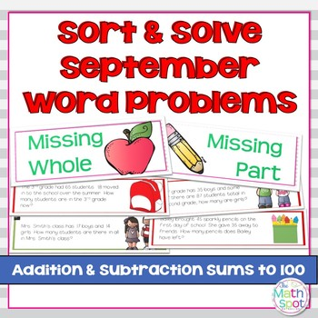 Addition and Subtraction Word Problem Sort: Back To School