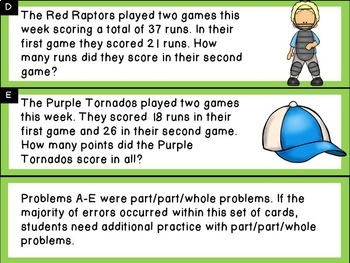 Addition and Subtraction Word Problem Sort: Baseball Sums to 100