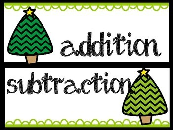 Christmas Math: Addition and Subtraction Word Problem Sort
