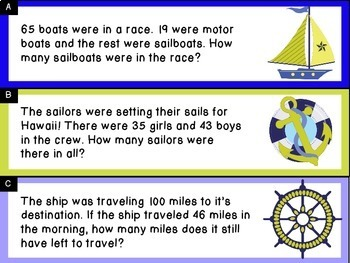Addition and Subtraction Word Problem Sort: Nautical Sums to 100