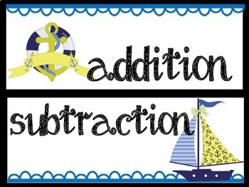 Nautical Addition and Subtraction Word Problems
