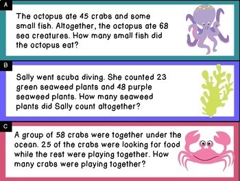 Addition and Subtraction Word Problem Sort: Sea Creatures Sums to 100