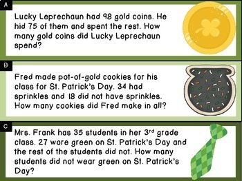 Addition and Subtraction Word Problem Sort: St. Patrick's Day Sums to 100