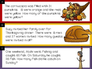 Addition and Subtraction Word Problem Sort: Thanksgiving Sums to 100