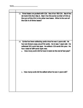 Addition and Subtraction Word Problem Standards Based Assessment