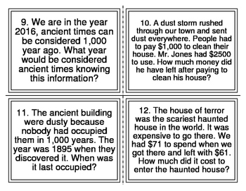 Addition and Subtraction Word Problem Task Cards (10, 100, 1,000) 28 Cards