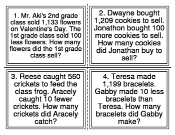 Addition and Subtraction Word Problem Task Cards (10, 100,