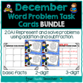 Addition & Subtraction Word Problem Task Cards Bundle - December Edition