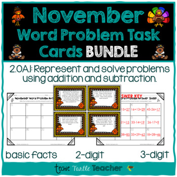 Addition and Subtraction Word Problem Task Cards Bundle -