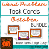 Addition and Subtraction Word Problem Task Cards Bundle - October Edition