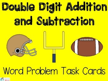 Addition and Subtraction Word Problem Task Cards Football Theme