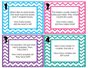 Addition and Subtraction Word Problem Task Cards (No Regrouping) *PPW Models*