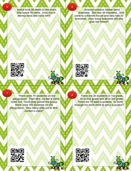 Addition and Subtraction Word Problem Task Cards QR Activity