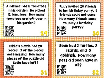 Addition and Subtraction Word Problem Task Cards - Set of 32 Common Core Aligned