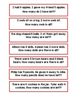 Addition and Subtraction Word Problem Task Cards and Work Mat