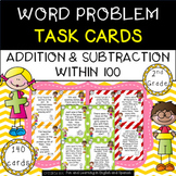 Addition and Subtraction Word Problem Task Cards for 2nd Grade
