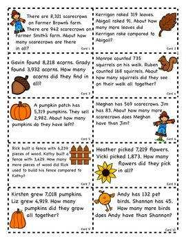 Addition and Subtraction Word Problems- Fall Theme