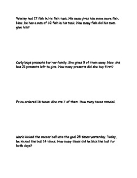 Addition and Subtraction Word Problems: 2.OA.1