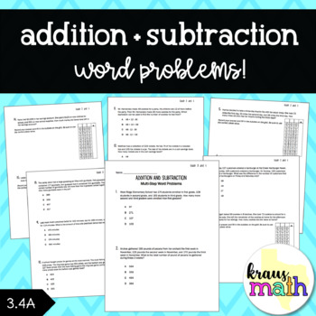 Addition and Subtraction: Word Problems/Test Prep (GRADE 3)