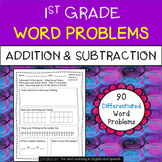1st Grade Word Problems - Add and Subtract (w/ digital option) Distance Learning