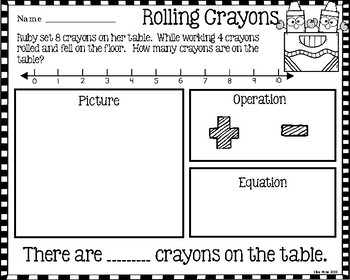 Addition and Subtraction Word Problems Back to School Theme