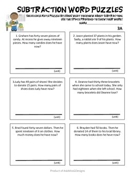 Addition and Subtraction Word Problems (18 Differentiated pages!)