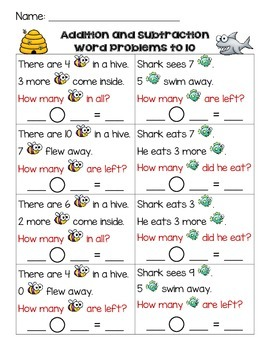 Addition and Subtraction Word Problems - Differentiated