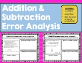 Addition and Subtraction Word Problems Error Analysis TEK