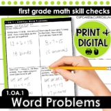 Addition and Subtraction Word Problems   First Grade Math 1.OA.1