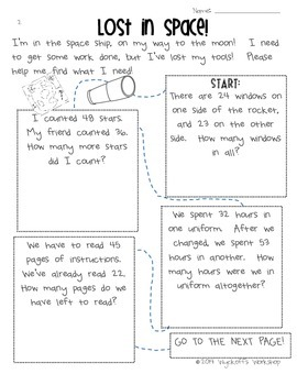 Addition and Subtraction Word Problems: Lost in Space!