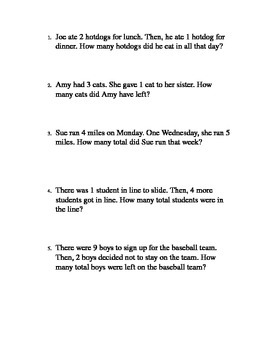 Addition and Subtraction Word Problems Lower Reading Level