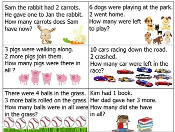 Addition and Subtraction Word Problems Math Center with Writing Component